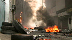 BURNING STREET Civil War Terrorist Attack Smoking Ruins Bombed Riot Explosion Stock Footage