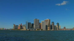 Lower Manhattan NYC Skyline Cityscape WATERFRONT New York City Panorama   Stock Footage