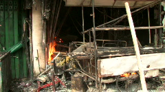 Burnt Out Storefront After Bomb Blast Terror Attack Bombing Blast  Stock Footage
