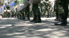 Police soldiers with riot shields in riot formation, Bangkok, 2009 Stock Footage