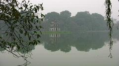 Thap Rua tower on Hoan Kiem Lake Hanoi North Vietnam Asia Travel  Stock Footage