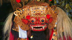 DEMON DEVIL Barong Dancer Mask Man Balinese  Dance Performance Ubud Bali  Stock Footage