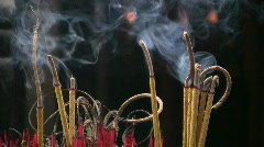 Incense Sticks Burns in Temple Yard Aromatic Buddhist Chinese Prayer Zen Stock Footage