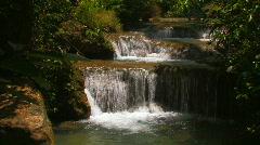 Beautiful Erawan Waterfall Flowing Water Peaceful Serene Kanchanaburi Thailand Stock Footage