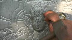 Person Thai Sculptor Makes Buddhist Silver Craftsman Creates Religious Metalwork Stock Footage