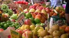 Woman Busy Fruit Farmers Market SEATTLE Vegetables Healthy Diet Fruit Vegetables Stock Footage