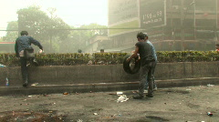 Stock Video Footage of Protesters Build Barricade During Riot, Bangkok, 2010