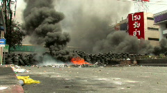 Bomb Blast Street Fire Urban Riot Terror Bomb BURNING Civil War Protest Bangkok  Stock Footage