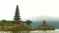 Pura Ulun Danu Bratan Temple Bali Hindu Religion Spiritual Journey Famous Travel Stock Footage