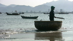 Traditional Round Boat in Nha Trang Fisherman on Shore Vietmam Stock Footage