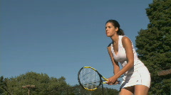Female tennis player practices return - stock footage