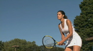 Stock Video Footage of Female tennis player practices return