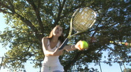 Stock Video Footage of Female tennis player serves (1 of 3)