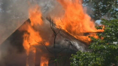 House Fire, 2nd story, engulfed Stock Footage