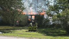 House Fire + Firemen on the scene #2 Stock Footage