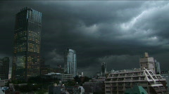 Tokyo - Dark Day 4 - rainy clouds and lightning. Japan. Stock Footage