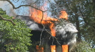 House Fire - 2 story family house engulfed in fire - Cinematic shot Stock Footage