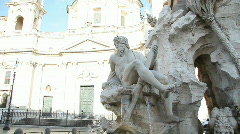 Fountain in Navona Square, Rome Stock Footage