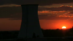 Sunset and factory Stock Footage
