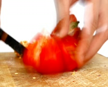 Stock Video Footage of Cooking time lapse - cutting red pepper