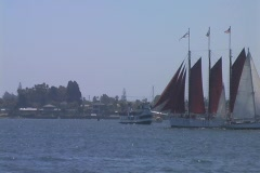 red sailboat - stock footage