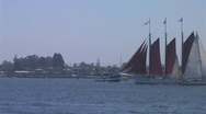 Red sailboat Stock Footage