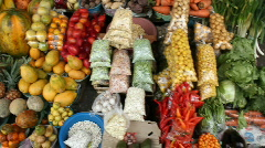 Walking through Andean market Stock Footage