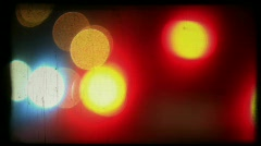 Night road lights background loop retro color film Stock Footage