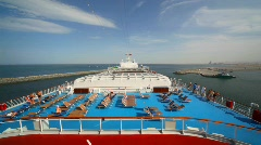People on top deck of cruise ship Stock Footage