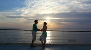 Stock Video Footage of couple stands on ship moving in sea
