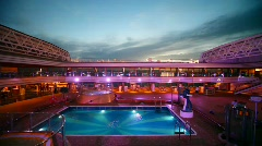 Swimming pool on top deck of cruise ship Stock Footage