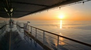 Stock Video Footage of view on sunset from deck of cruise ship moving