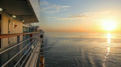 Sunrise on sea, view from moving cruise ship Stock Footage