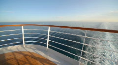 Railing on top deck of cruise ship Stock Footage