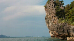 Tourists arrive at James Bond Island in Phuket, Thailand Stock Footage