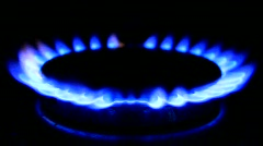 Blue flames of a gas stove Stock Footage