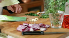 Chef wrapping a bouquet garni Stock Footage
