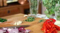 Chef cutting herbs close Stock Footage