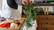 Stock Video Footage of chef cutting herbs