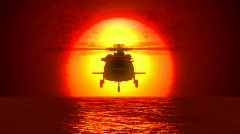 Helicopter, sunset and water - stock footage