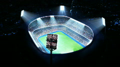 Lighted soccer stadium. Top view. - stock footage