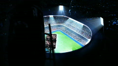 Lighted soccer stadium. Top view. Stock Footage