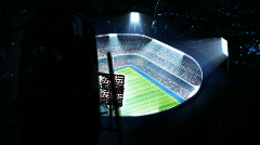 Lighted rugby stadium. Top view. Stock Footage