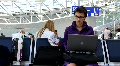 Girl in airport with notebook Footage