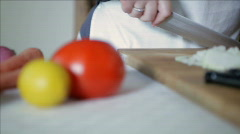 chef cutting bell pepper - stock footage