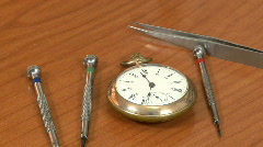 Clock and watchmaker repair tools Stock Footage