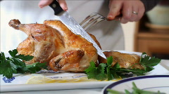 Carving a Roasted Chicken Stock Footage