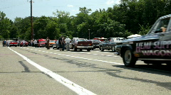 Cars lining up at staging area of Kilkare Stock Footage