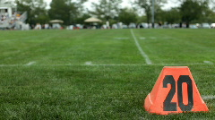 20 yard line on Football field Stock Footage