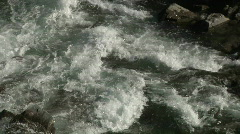 White green water mountain river rapids liquid flowing frothing spray rocks z Stock Footage